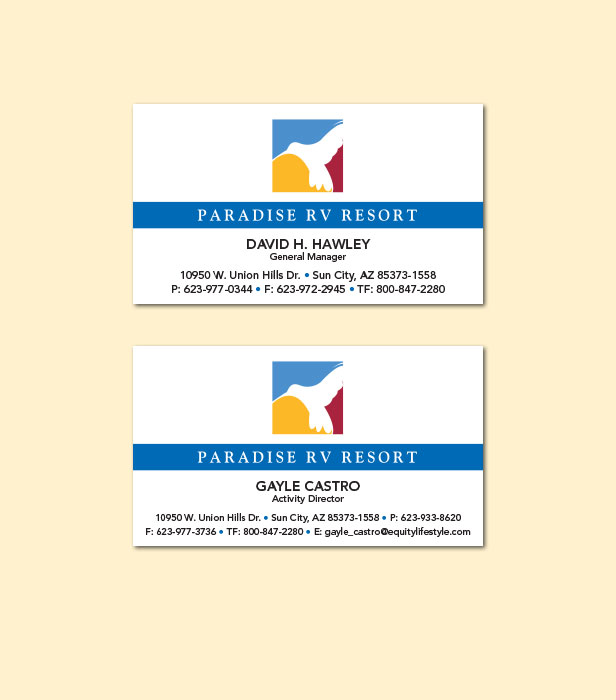 Marketing and advertising for campgrounds and rv parks business cards colourmoves